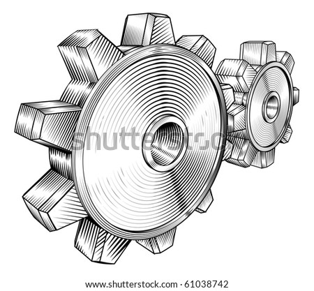 a black and white illustration of interlocking cogs - stock vector