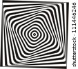 A black and white optical illusion. Vasarely optical effect. - stock photo