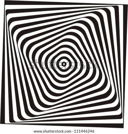 A black and white optical illusion. Vasarely optical effect. - stock vector