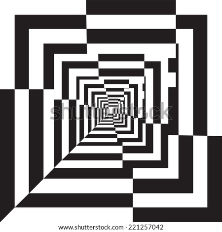 A black and white relief tunnel. Optical illusion. Vector illustration. - stock vector