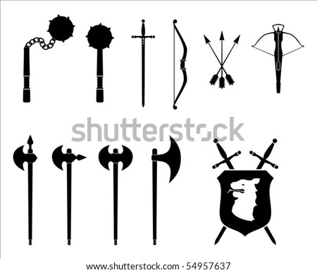 A black and white set of medieval weapons illustration. - stock vector