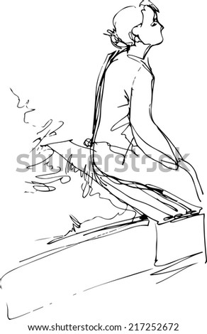 a black and white sketch of a girl sitting on a park bench  - stock vector