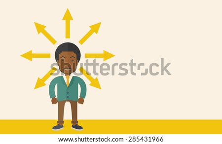 A black businessman being confused with too many directions, presenting with arrows, to make decision. A Contemporary style with pastel palette, soft beige tinted background. Vector flat design - stock vector