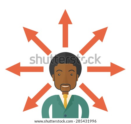 A black businessman being confused with too many directions, presenting with arrows, to make decision. A Contemporary style. Vector flat design illustration isolated white background. Square layout. - stock vector