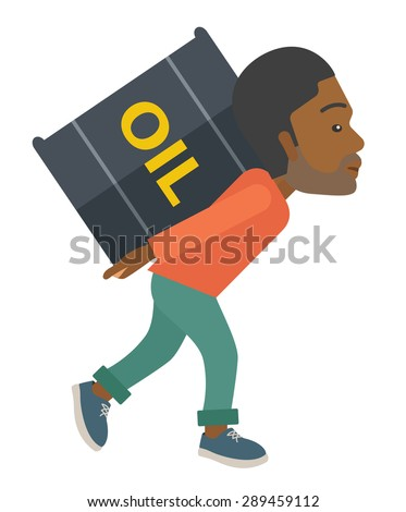 A black businessman walking while carrying a heavy barrel of oil for delivery. A Contemporary style. Vector flat design illustration isolated white background. Vertical layout. - stock vector