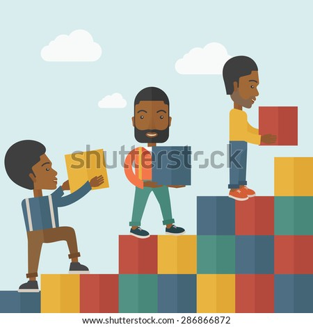 A Black Businessmen are happy with the graph shows that more and more profits, increased in sales higher income to receive. Winner concept. A contemporary style with pastel palette soft blue tinted - stock vector