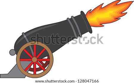 A black cannon attached to a wheeled carriage, belches fire from it's muzzle. - stock vector