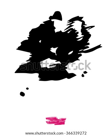 A black handmade vector blot or blob with grunge texture against white background, also looking like calligraphy imitation