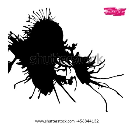 A black handmade vector blot or blob with grunge texture and with feather edges and shape of some life-form against white background - stock vector