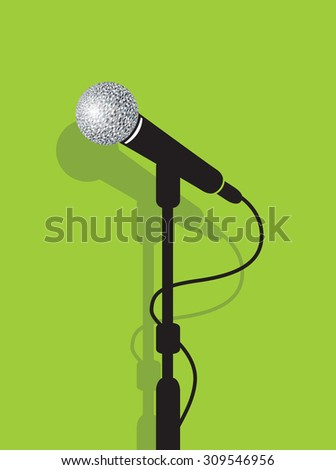 a black microphone stand on a green background
