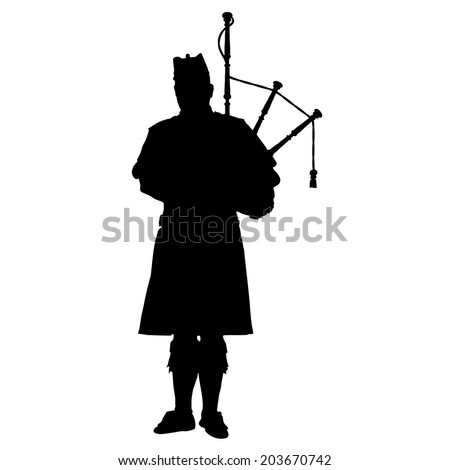 A black silhouette of a Scottish piper playing the bagpipes - stock vector