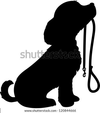 black silhouette of a sitting dog holding it's leash in it's mouth ...
