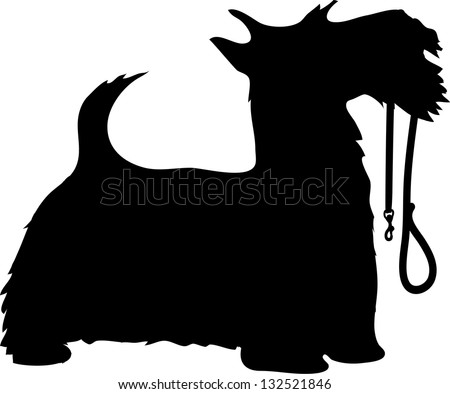 A black silhouette profile of Scottie Dog Sitting Silhouette