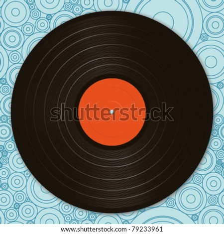 A black vinyl record on a seamless circle shaped background. Elements are on separate layers for easy editing. - stock vector
