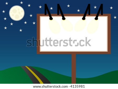 a blank billboard standing next to a road - stock vector