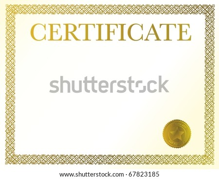 A blank certificate. Ready to be filled with your individual text. - stock vector