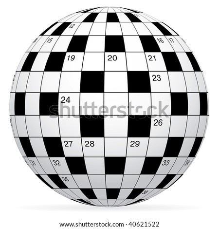 A blank crossword vector in form world globe - stock vector