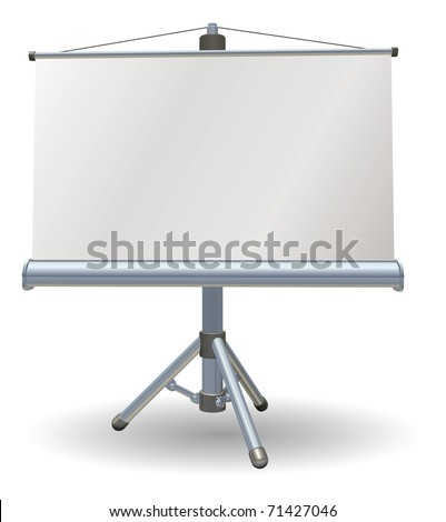 A blank presentation or projector roller screen