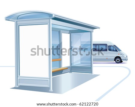 A blank white advertising billboard on a bus stop - stock vector