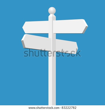 A Blank White Sign Post