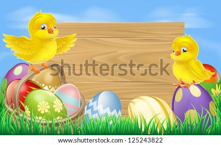 A blank wooden Easter egg sign with Easter eggs in a wooden hamper, chicks and copyspace - stock vector