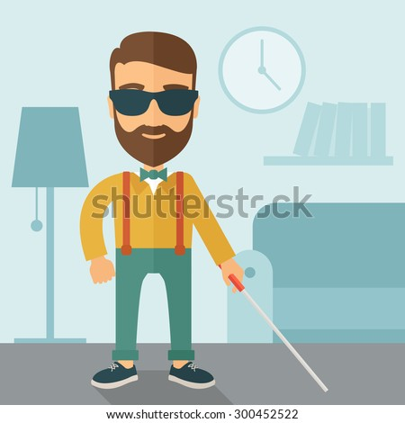 A blind caucasian with walking stick inside the house. Contemporary style with pastel palette, soft blue tinted background. Vector flat design illustrations. Square layout. - stock vector