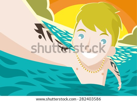a blonde man in the sea taking a picture - stock vector