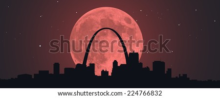 A Blood Red Super Moon behind a silhouette of downtown St. Louis, Missouri. - stock vector