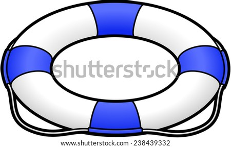 A blue and white lifesaver / life preserver. - stock vector