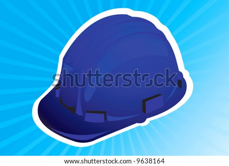 A blue colour hard hat in blue radiant light	 - stock vector