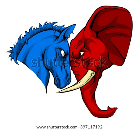 A blue donkey and red elephant facing off. American politics or election concept with animal mascots of the democrat and republican political parties - stock vector