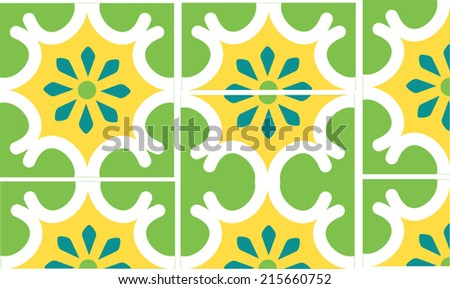 A blue eight petaled flower is featured in the center of this modern green and white tile. This file contains 2 full tiles, half tiles and a quarter tile for easy use in your design.  - stock vector