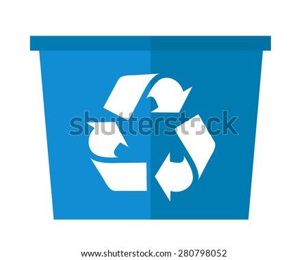 A blue garbage can with recycle symbol. A Contemporary style. Vector flat design illustration isolated white background. Square layout. - stock vector