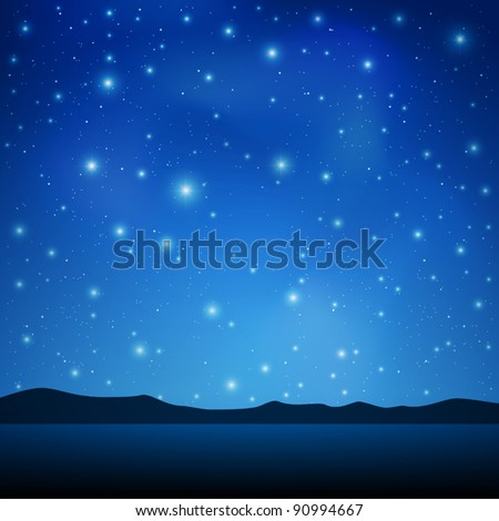 A Blue Night Sky with lots of Stars - stock vector