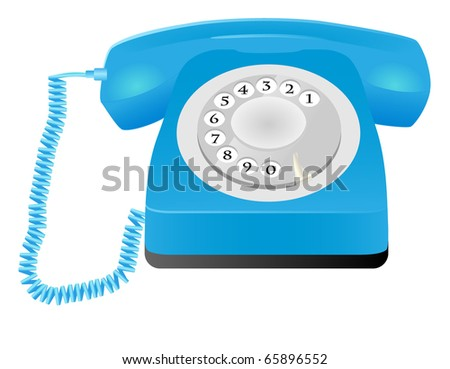A blue retro telephone isolated on white