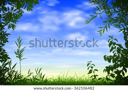 A Blue Sky Background with Floral Border and Leaves - stock vector