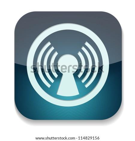 a blue vector icon with antenna inside - stock vector