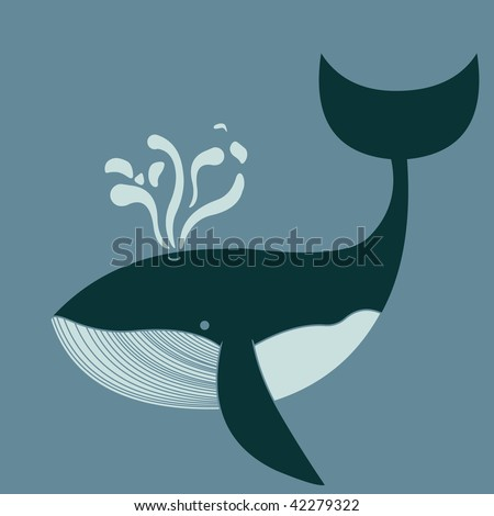 A blue whale swimming into the sea - stock vector
