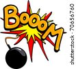 "A bomb explodes in a loud round ""Boom"", vector - stock vector"