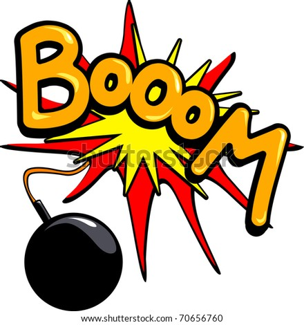 """A bomb explodes in a loud round """"Boom"""", vector - stock vector"""