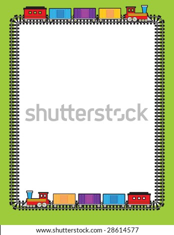 A border of train tracks with two trains going around on them - stock vector