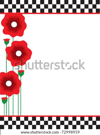 A border or frame featuring red poppies with black and white checks