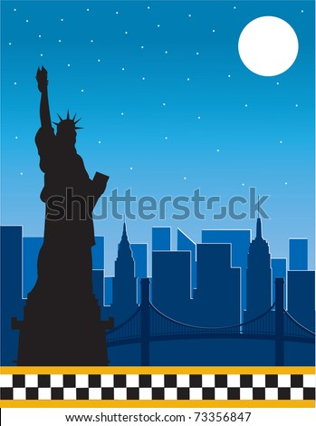 A border or frame featuring the New York skyline at night and a silhouette of the Statue of Liberty in the foreground.  The bottom border is the checkerboard of the New York City  taxi - stock vector