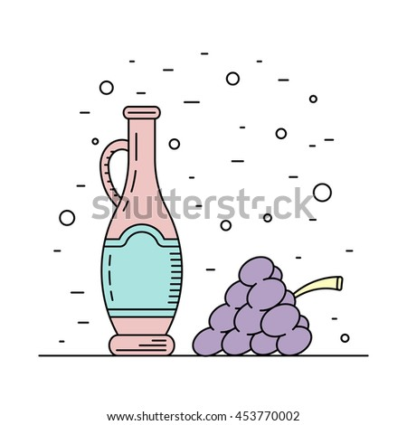 A bottle decanter made of glass, vector flat outline, for wine. Glass bottle for liquid, wine.