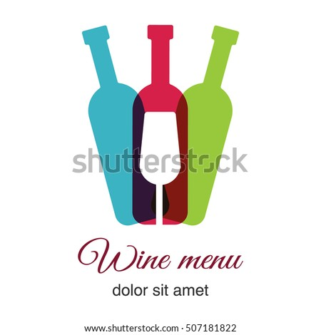 A bottle of a wine and a glass icon. Wine bottle icon. Wine symbol for business. Wine list,  wine menu.  Vector illustration of wine bottle and glasses. Alcoholic beverages logo. Drinks menu.