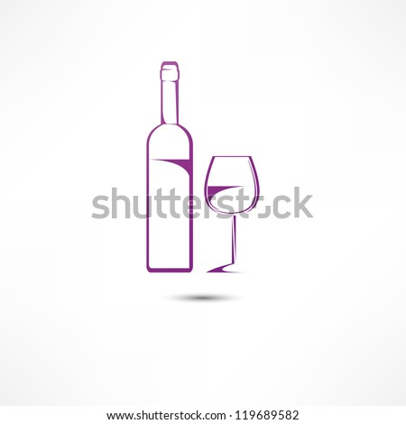 A bottle of wine and a glass icon - stock vector