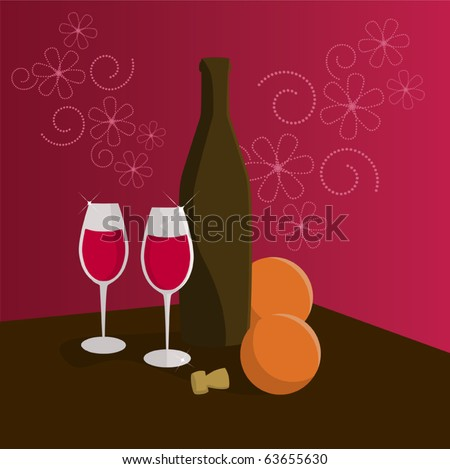 A bottle of wine and two glasses - stock vector