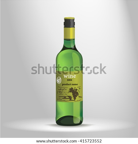 A bottle of wine. Wine photorealistic image on a white background. bottle of wine with reflections and refractions of light. wine bottle image resembling a 3d rendering. Clean lines Vector - stock vector