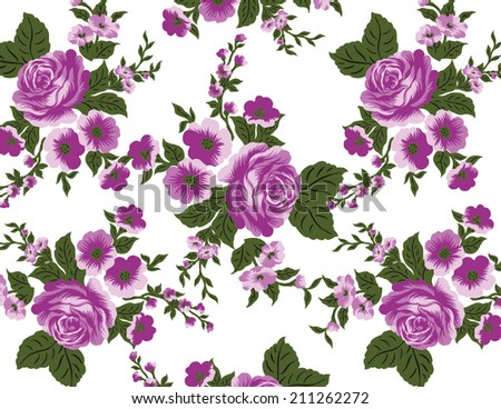 A bouquet of Pink Roses Bouquet of five lined on a white background. - stock vector