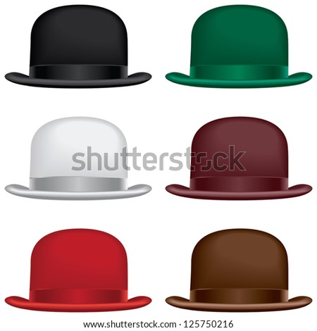 A bowler or derby hat selection in black, gray, red, green, burgundy and brown colors. - stock vector